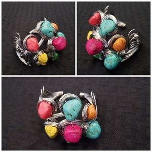 Jewelry - Beautiful and Bold Color Stone Wire Cuff